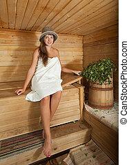 assento mulher, sauna
