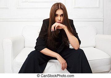 assento mulher, sofá, jovem, casaco, moda, pretas, lar