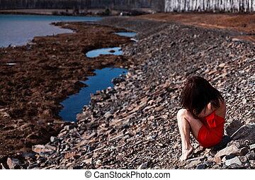 assento mulher, vestido, jovem, praia, vermelho