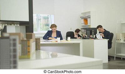 asseoir, apartement, dessins, travail, ingénieurs, tables
