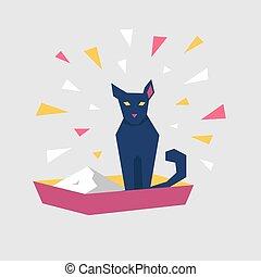 asseoir, caractère, plateau., dessin animé, chat noir