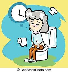 asseoir, content., constipation, femme, salle bains