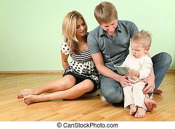asseoir, famille, plancher