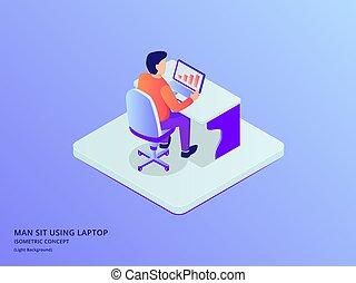 asseoir, plat, quelques-uns, chaise, données, travail, isométrique, ordinateur portable, homme, style, analyse