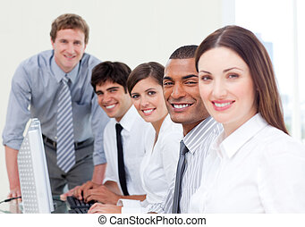 Assertive business team at work