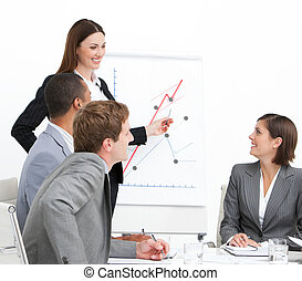 Assertive businesswoman giving a presentation to her...