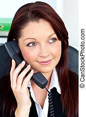 assertive businesswoman on phone