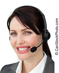 Assertive businesswoman with headset