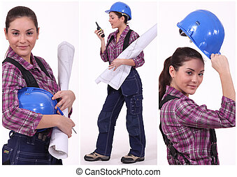 Assertive female construction worker