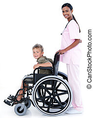 Assertive female doctor carrying a patient in a wheelchair...
