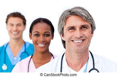 Assertive medical team standing