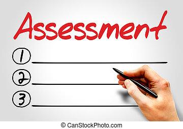 Assessment blank list, business concept