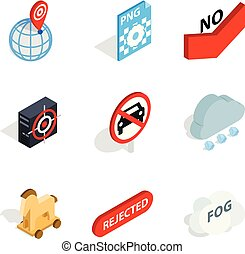 Assessment icons set, isometric style