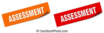 assessment paper peeler sign set. assessment sticker