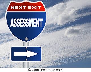Assessment road sign