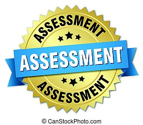 assessment round isolated gold badge