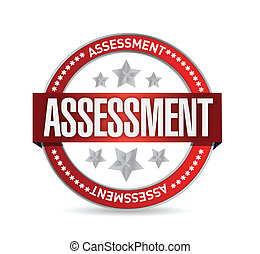 assessment seal stamp illustration over a white background