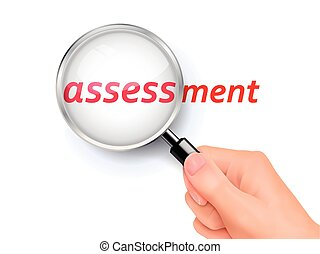 assessment showing through magnifying glass