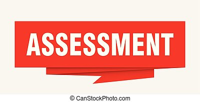 assessment sign. assessment paper origami speech bubble....