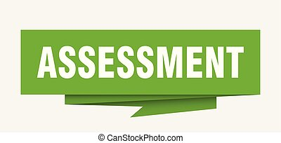 assessment sign. assessment paper origami speech bubble. ...