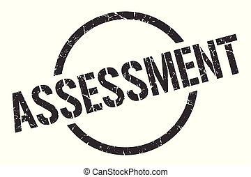 assessment stamp - assessment black round stamp