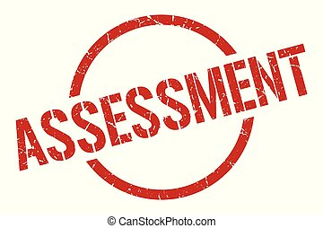 assessment stamp - assessment red round stamp
