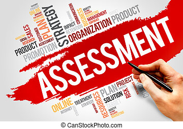 Assessment word cloud, business concept