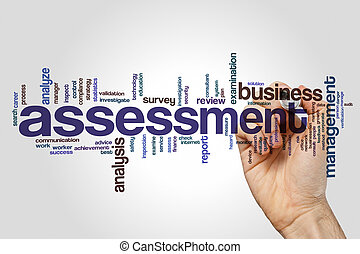 Assessment word cloud concept on grey background