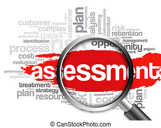 ASSESSMENT word cloud with magnifying glass, business ...
