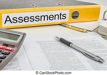 assessments, carpeta, etiqueta