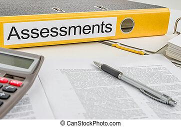 assessments, dossier, étiquette