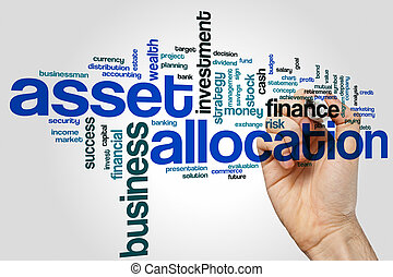 Asset allocation word cloud concept on grey background