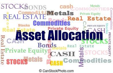 asset allocation word cloud - Financial concept asset...