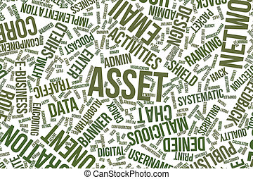 Asset, conceptual word cloud for business, information technology or IT.