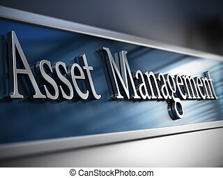 Asset management plaque in front of a building with depth of field effect and blue tones.