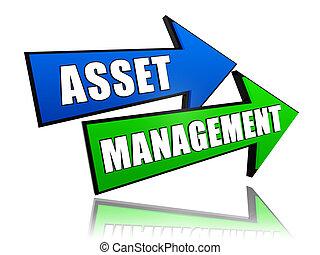 asset management in arrows - asset management - text in 3d...