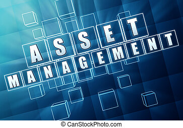 asset management - text in 3d blue glass cubes with white letters, business financial operation concept