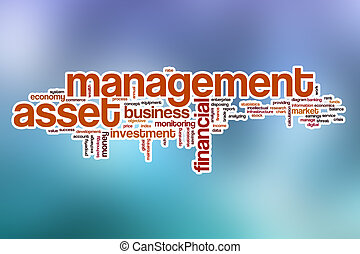 Asset management word cloud with abstract background