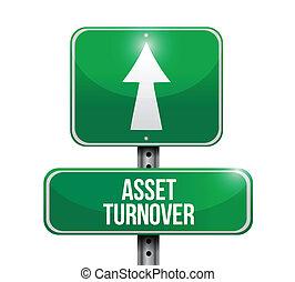 asset turnover road sign illustrations design over white