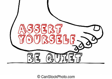 Asset Yourself Foot Stomping Words Be Quiet 3d Illustration