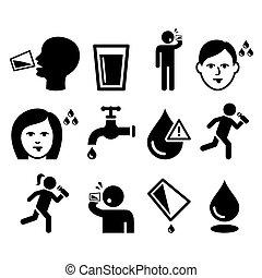 assetato, uomo, asciutto, bocca, sete, persone, acqua potabile, icone, set