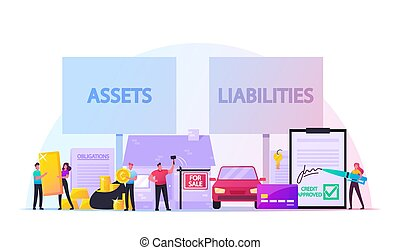 Assets and Liabilities Concept. Male Female Characters Share...