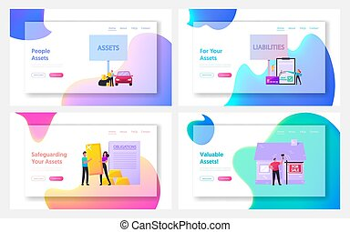 Assets and Liabilities Landing Page Template Set. Tiny ...