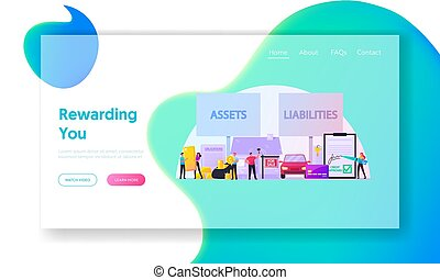 Assets and Liabilities Landing Page Template. Tiny ...