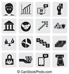 assets-, este, cartões, represente, &, negócio, money(cash), graphic., criação, riqueza, conta, icons(signs), relatado, vetorial, banco, investimentos, riqueza, operação bancária, dinheiro saving, ilustração, também, lata, poupança