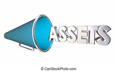 Assets Value Bullhorn Megaphone Word 3d Illustration