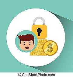 assicurare, affari, orologio, soldi, monete, uomo