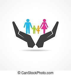 assicurare, famiglia, mano, sotto, risparmiare, o