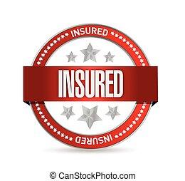 assicurato, rosso, illustrazione, sigillo