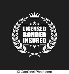 assicurato, vettore, concesso in licenza, bonded, icona